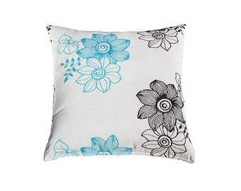 Flowers Pillow Cover Blue Brown White