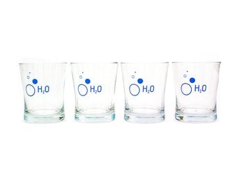 "Vintage 1950's, Essential Barware, Literal ""H2O"" Vintage Water Glasses, Retro Drinking Glasses"