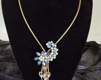 Vintage Gold Chain Rhinestone Lariat Necklace - Vintage 1960's Lariat Necklace - 1960 Stationary Lariat Necklace - Vintage Costume Jewelry
