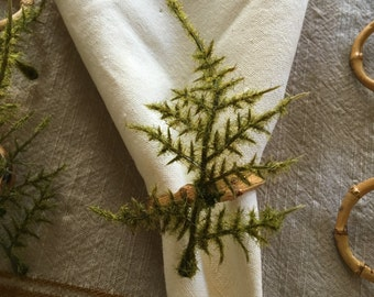 6 piece Ferns with Bamboo Napkin rings