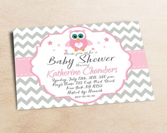 Owl Baby Shower Invitation Girl Baby Shower invitations Printable Baby Shower Invites rose - FREE Thank You Card -  Download - 10