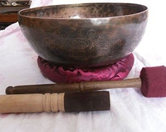 """11"""" Healing Mantra Carved Buddha Root C Note Tibetan Singing Bowl"""