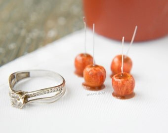 4 pcs Caramel apples. Realistic dollhouse miniature food 1:12