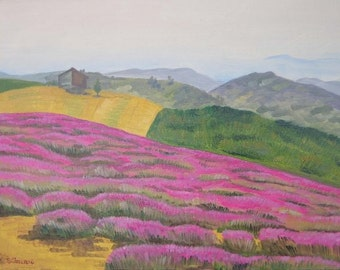 Tuscan landscape oil on telacon pink flowers and hills