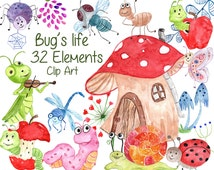 """Cute Bugs Clipart:""""BUGS CLIPART"""" Watercolor bugs Happy bugs Insects Clipart Ladybug Snail Dragonfly Fly Caterpillar Spider kids clipart"""