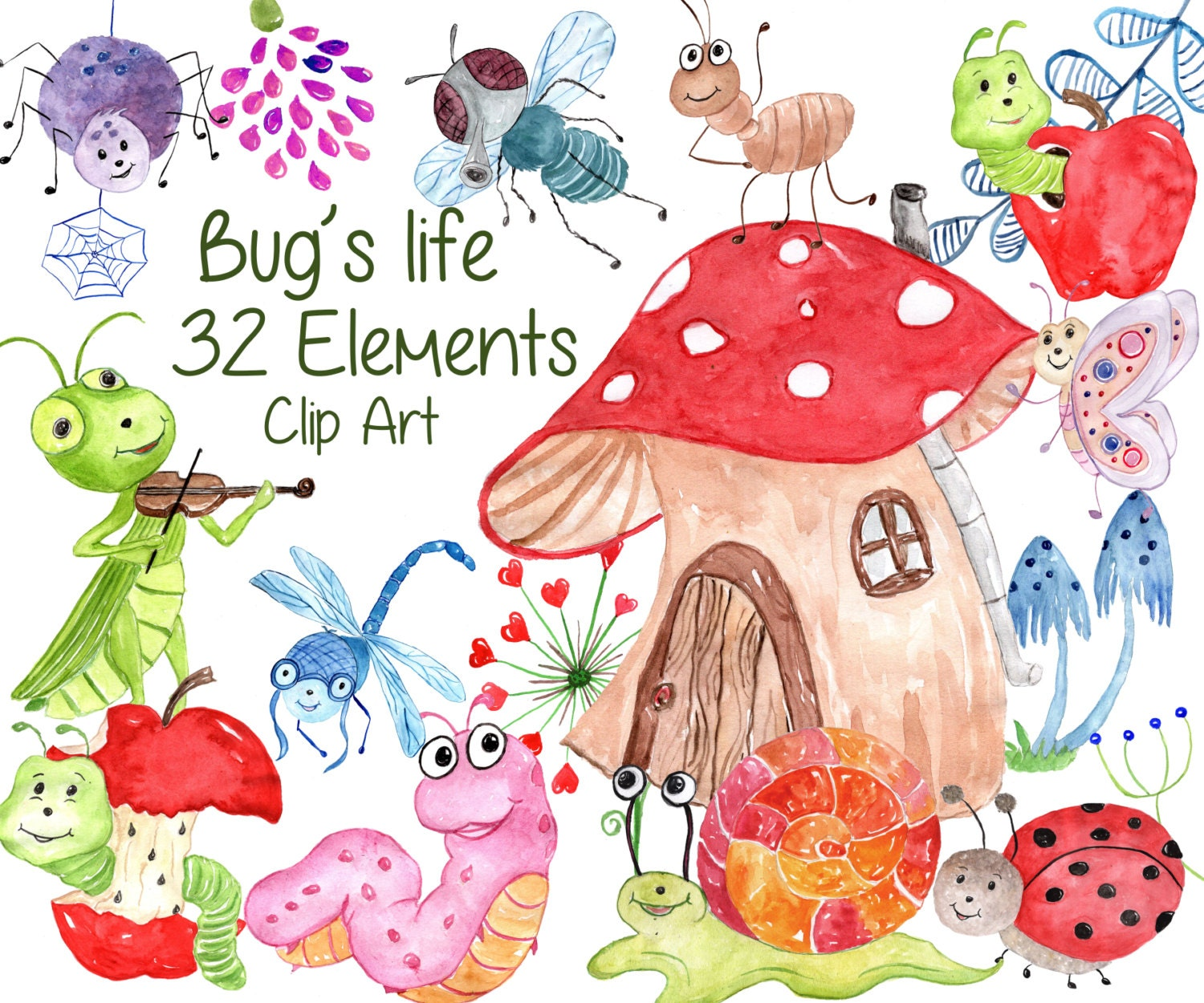 Cute Bugs Clipart:BUGS CLIPART Watercolor bugs