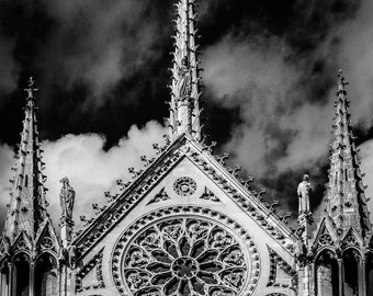 Notre Dame Cathedral Print - Digital Download Photograph - Black and White Art Photography - Notre Dame Paris - Notre Dame Cathedral Art
