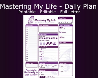 Daily Schedule and To-do List- Mastering My Life- Printable & Editable