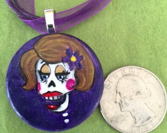 Day of the dead hand painted wood pendant