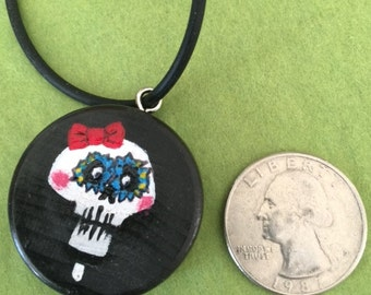 Day of the dead inspired wood pendant