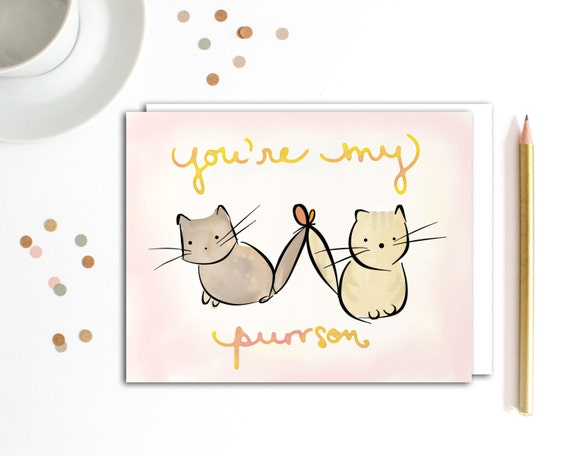 valentine card cat valentine card friend pun card funny – Valentine Card Friend