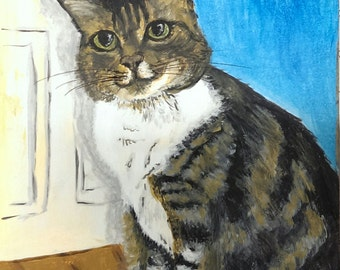 Original painting of a tabby cat - acrylic on artists' paper