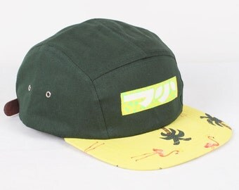 Dojo Shredboards 5 panel Tropical Brim Forest Green with Leather Strap