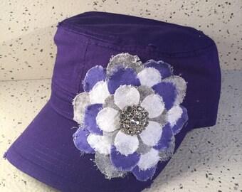 Purple Cap w/Purple & White Floral Accent