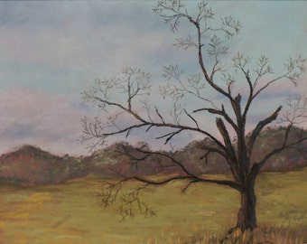 Dead Tree Original Art Landscape Pastel Painting