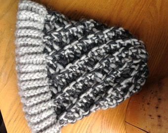 Kids gray and charcoal winter hat
