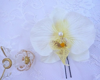 peak hair pale yellow Orchid Pearl wedding or cérémonie(pic-040)