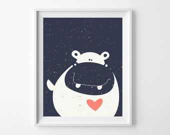 Hippo Navy Art Print, Nursery Poster, Poster Print for the Home, Wall Printables, Trending Gifts Instant Download