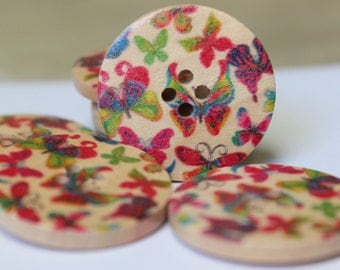 SALE 25 Large Wooden Butterfly Buttons- Multicolored - CLEARANCE - DESTASH