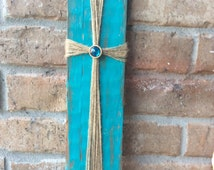 Rustic cross.turquoise.twine cross.distressed.reclaimed wood.religious.shabby chic.bohemian decor.farmhouse décor.bar board.custom made.