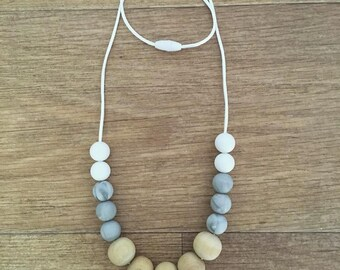 White Wood Marble Teething Necklace
