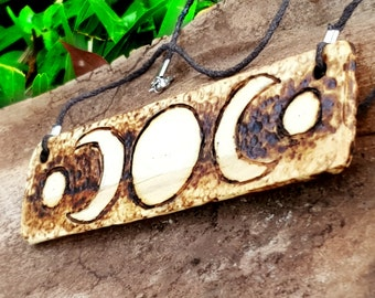 Triple Moon Symbol Wooden Necklace