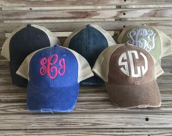 Monogrammed Distressed Trucker Hat Cap Baseball Hat