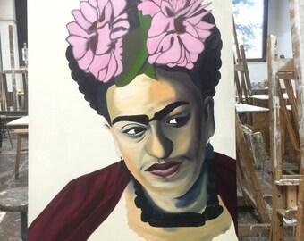 3ft X 4ft Oil on Panel Frida Kahlo portrait
