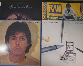4 Paul McCartney and Wings LP lot, RAM, 1971 Apple, Band on the Run, 1973, McCartney II, 1980 , Pipes of Peace, 1983, all vG++/Ex