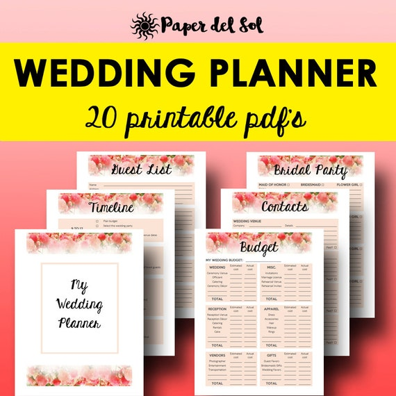 Wedding planner printable wedding planner book printable for Diy wedding binder templates