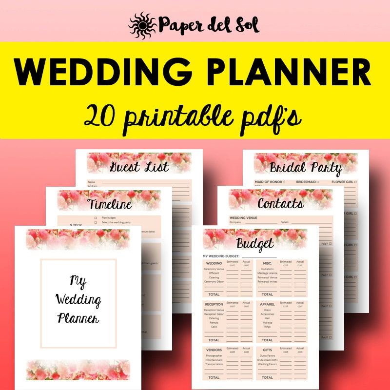 Revered image regarding free printable wedding organizer binder