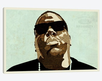 Canvas Print of Biggie Smalls - Street Art Style Wall Decor - Beautiful Framed Pop Art Artwork - FREE Shipping