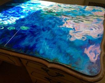 Painted desk - custom hand painted Monet Water Lilies Desk
