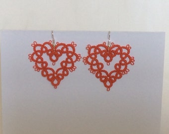 Tatted heart earings