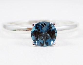 London Blue Topaz Solitaire Ring Sterling Silver