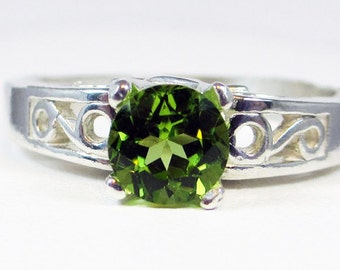 Peridot Filigree Ring Sterling Silver, August Birthstone Ring, Peridot Solitaire Ring, Peridot Gemstone Ring, 925 Peridot Filigree Ring