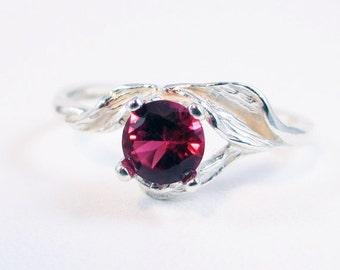Ruby Leaf Ring Sterling Silver, July Birthstone Ring, Sterling Leaf Ring, 925 Ruby Ring, Sterling Silver Ruby Ring