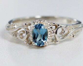 London Blue Topaz Filigree Ring Sterling Silver, December Birthstone Ring, Sterling Filigree Ring, Oval Blue Topaz Ring, 925 Filigree Ring