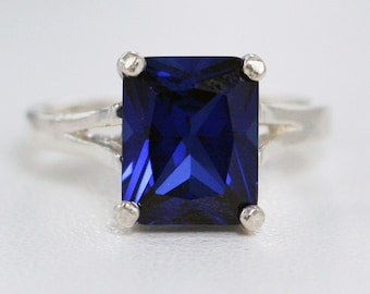 READY TO SHIP Size 5.5, Blue Sapphire Ring Sterling Silver, Emerald Cut Sapphire Ring, September Birthstone Ring, Blue Sapphire Ring