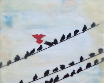 SALE! was 75 dollars, now 60! Limited time! original black red birds silhouette  girl friends encaustic painting original 8x8