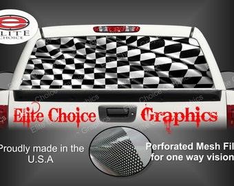 Racing Checkered Flag Rear Window Graphic Tint Decal Sticker Truck SUV Van Car