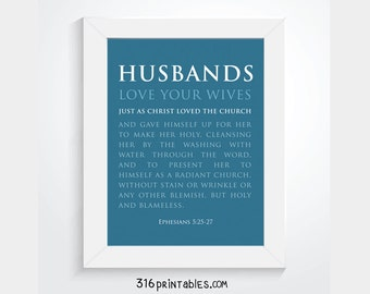 Husbands Scripture Verse - Ephesians 5:25-27 - Blue - 8x10, Bible Art, Scripture Prints, Bible Verse Printable