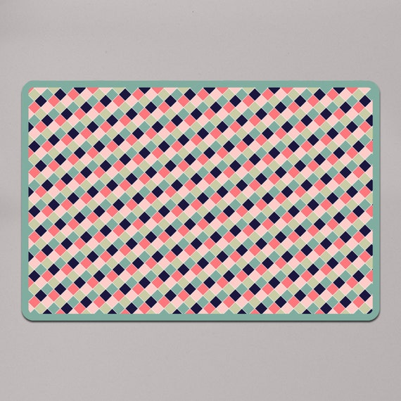 Dog Training Placemat: Cute Pink And Green Dog Food Mat Dog Food Mat By FurbaeDotCom