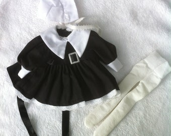 Hand made ooak doll dress outfit,goth,pilgrim,Omish doll clothes for reborn baby,silicone baby or art doll clothes