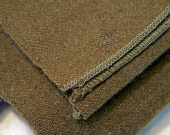 World War II era green wool blanket