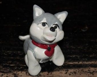 Ooak Polymer Hand Sculpted Husky