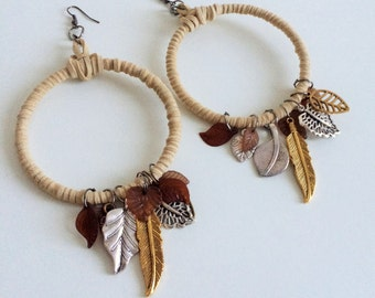 Earrings - Faux suede wrapped earrings with gold, bronze and silver leaves - Native American inspired - boho