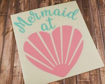 Mermaid at Heart Decal, Mermaid Decal, Yeti Decal, MacBook Decal, Laptop Decal, Mermaid Life, Mermaid Love, Car Decal, Shell Decal