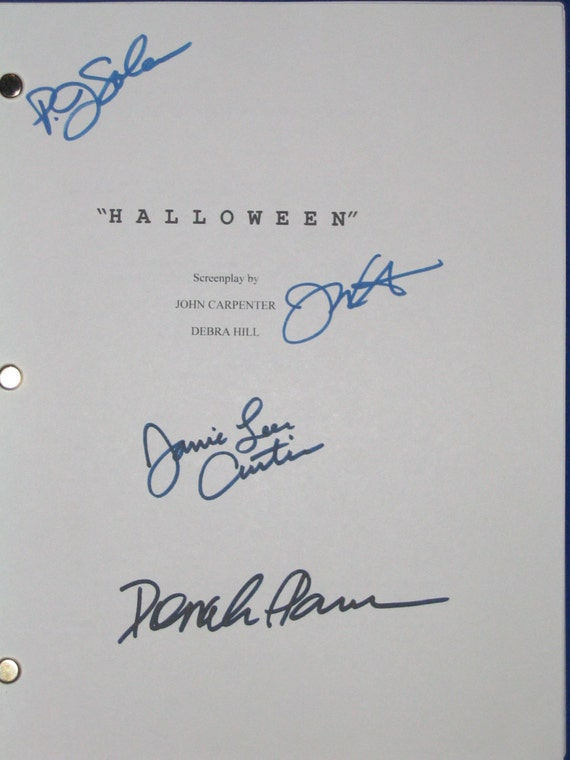 Halloween Script Movie Film Signed Screenplay Autograph 4X Jamie Lee Curtis P.J. Soles Donald Pleasence John Carpenter signatures horror