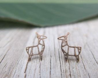 Rose gold tiny origami deer earrings, dainty little deer outline stud earrings, cute gifts, christmas, teenage gifts, sister gifts, woodland